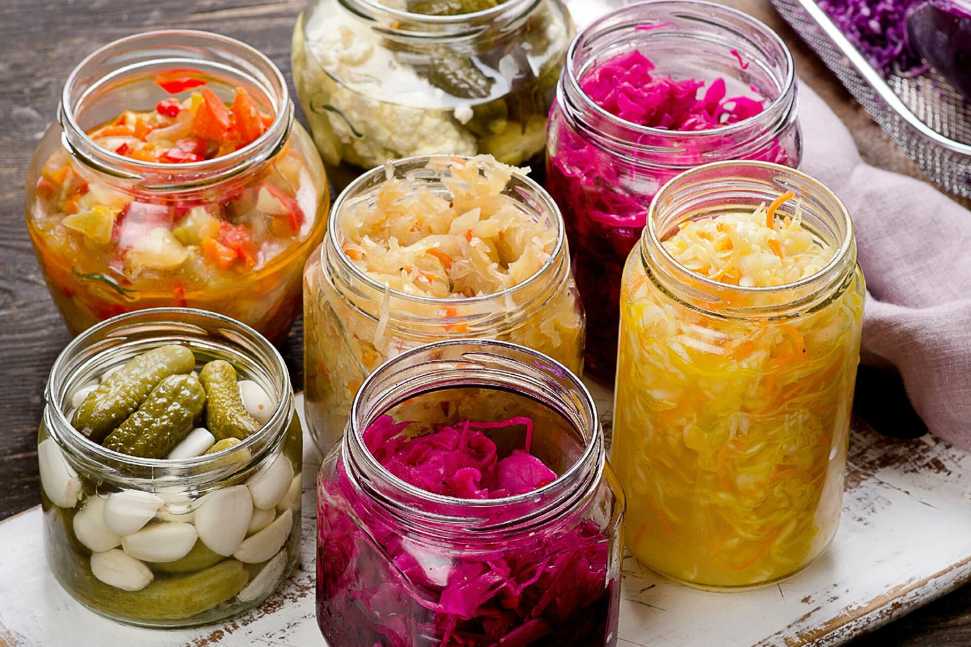 Fermented food in jars for gut health