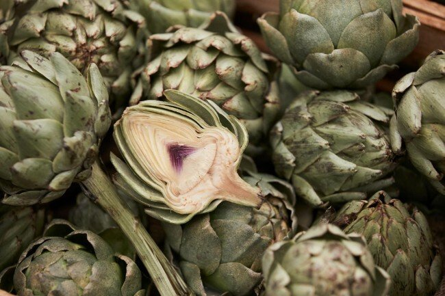 Globe artichokes sliced open