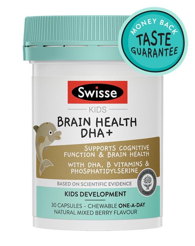 Pack shot of Swisse Product Kids Brain Health DHA +30 chewable caps
